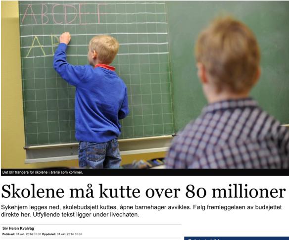 Oppslag Stavanger Aftenblad 31.10.14